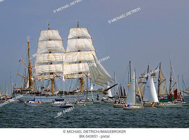 Parade of sailing ships during Kiel Week 2006, Kiel Fjord, Germany