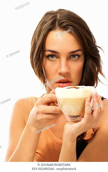 young beautiful woman holding cappuccino coffee