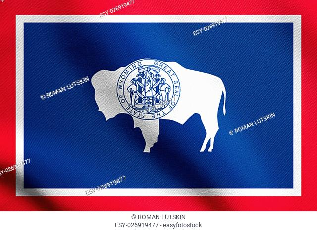 Wyomingite official flag, symbol. American patriotic element. USA banner. United States of America background. Flag of the US state of Wyoming waving in the...