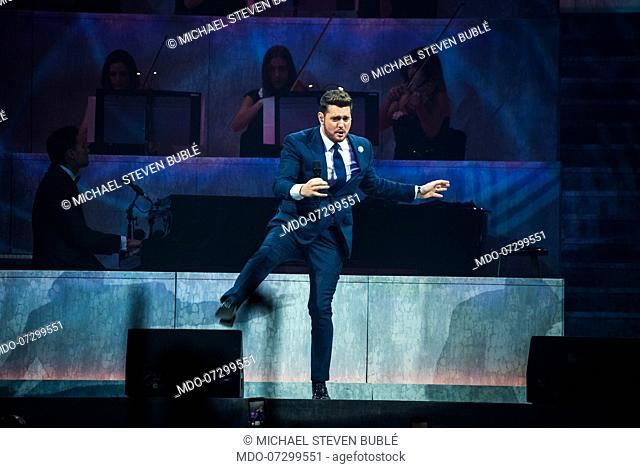 Canadian singer Michael Bubléperforms live on stage at Mediolanum forum for the first italian date of his Love tour 2019