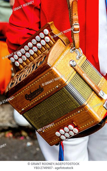 A Musician and Accordion, Lewes Folk Festival 2016, Lewes, Sussex, UK
