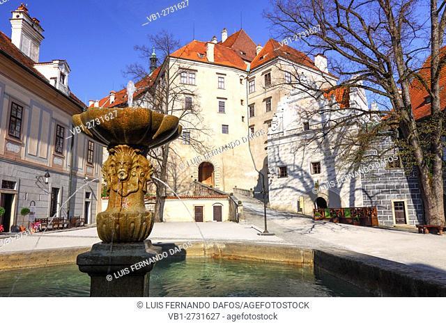 Courtyard and facade of Cesky Krumlov castle. Bohemia, Czech Republic
