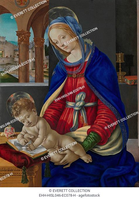 MADONNA AND CHILD, by Fra Filippo Lippi, 1483–84, Italian Renaissance painting, tempera, oil on wood. This work was commissioned by the wealthy Florentine...