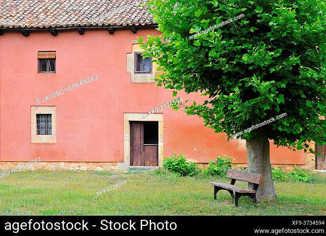 Trditional house. Monastery of San Andrés de Arroyo. Palencia province. Castilla y Leon. Spain