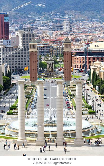 View onto the Venitian Towers at Placa Espanya in Barcelona, Spain