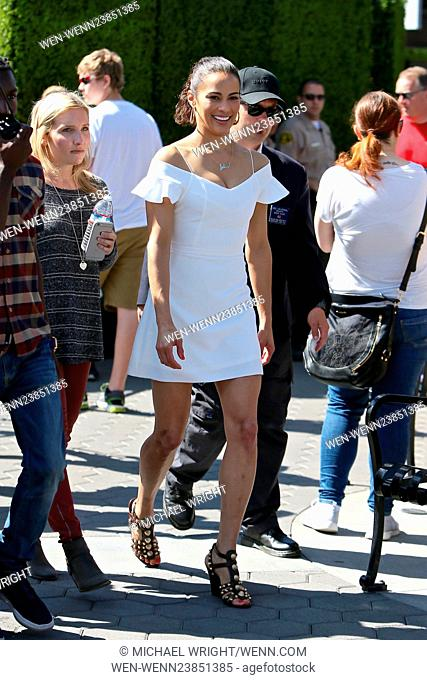 Paula Patton seen at universal studios where she was interviewed by Mario Lopez for television show Extra. Featuring: Paula Patton Where: Los Angeles