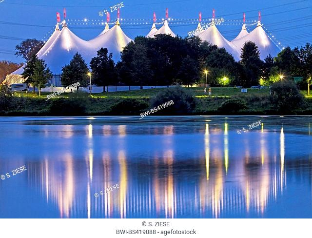 tent festival Ruhr nearby Kemnader reservoir in the evening, Germany, North Rhine-Westphalia, Ruhr Area, Bochum