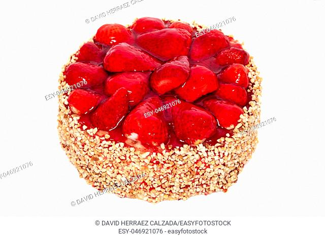 Delicious strawberry cake isolated on white background ,