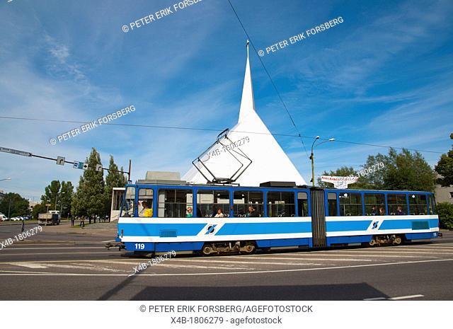 Tram going past Eesti Metodisti Kirik the Estonian Methodist church Narva mnt Kadriorg district Tallinn Estonia Europe