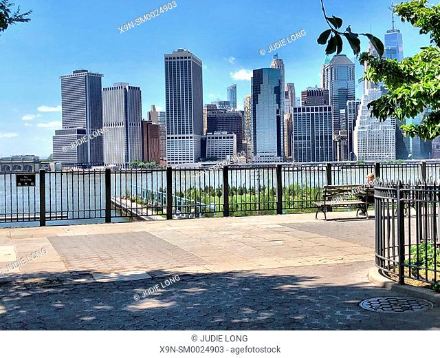 Brooklyn New York, USA. Looking at the Lower Manhattan Financial District Skyline from the Brooklyn Heights Promenade