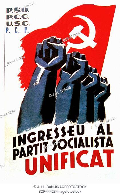 Spanish civil war (1936-1939): Ingresseu al Partit Socialista Unificat (Join the Unified Socialist Party), Catalan socialist poster