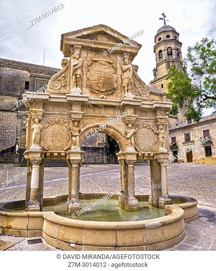 Santa Maria Fountain (with the shape of a Roman Triumphal Arch) and Cathedral in background. Baeza. Jaen Province. Andalusia. Spain
