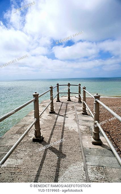 Small pier on the beach at Hastings, East Sussex, England, UK