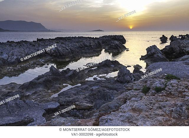 A striking view of Island of ladies at dusk. Palermo, Sicily. Italy