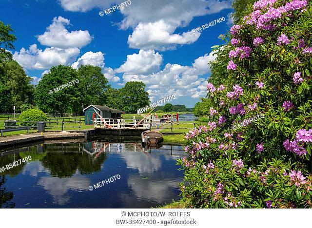 Elisabethfehn Canal in spring, Germany, Lower Saxony, Oldenburger Muensterland, Elisabethfehn