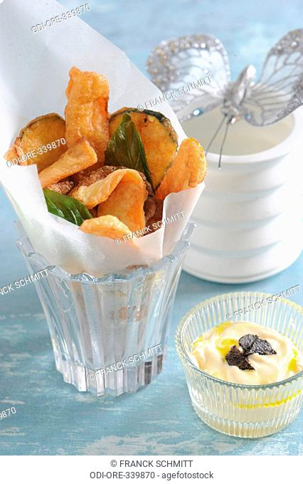 Vegetables tempura with truffle sauce