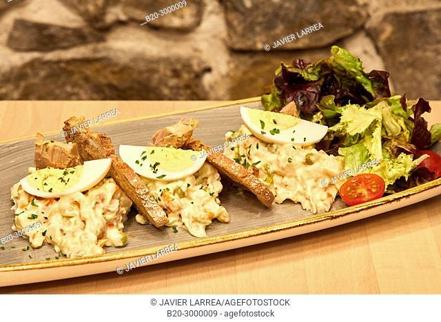 Russian salad, Bar Restaurante Portaletas, Parte Vieja, Old Town, Donostia, San Sebastian, Gipuzkoa, Basque Country, Spain