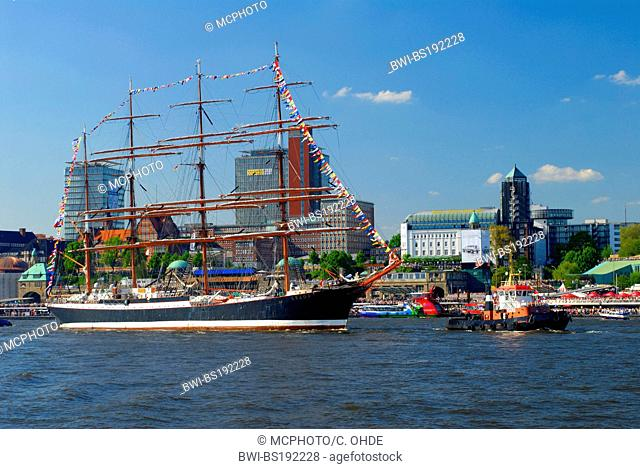 sailboat Sedov in the harbour of Hamburg, Germany