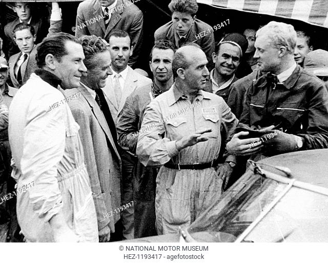 Giuseppe Farina and Mike Hawthorn, Spa-Francorchamps, Belgium, 1953. A qualified doctor of engineering, Farina won the first official Formula 1 World Drivers'...