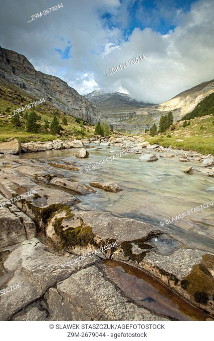 River Arazas in Ordesa y Monte Perdido National Park, Pyrenees mountains near Torla, Huesca, Aragon, Spain