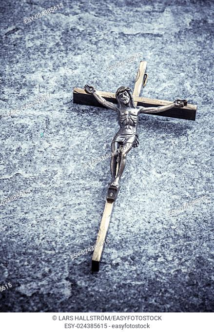 Crucifix, jesus christ on the cross. Symbol of christian religion, faith, worship and belief. Concept of death, suffering and holy figure