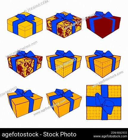 Set of colorful gift boxes with bows and ribbons. illustration collection