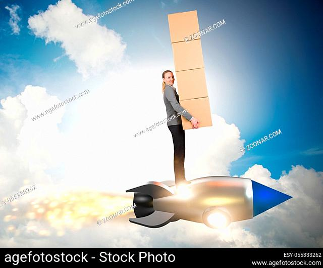 The woman flying rocket and delivering boxes