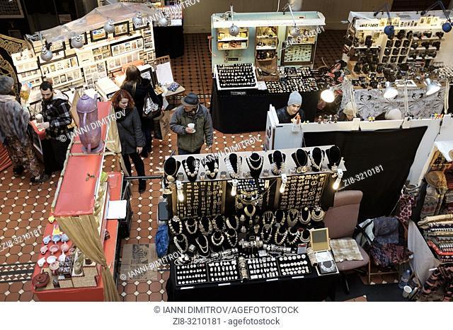 England, London, Camden Market-op view of vendors stalls