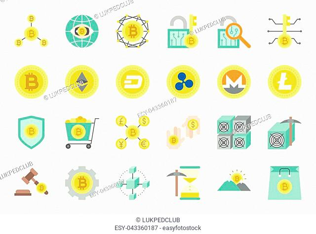 cryptocurrency related icon set, flat design
