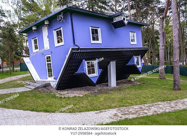 Upside down house in Pobierowo village, West Pomeranian Voivodeship of Poland