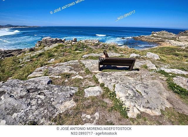 Castro de Baroña Beach, Porto do Son, A Coruña province, La Coruña, Galicia, Spain