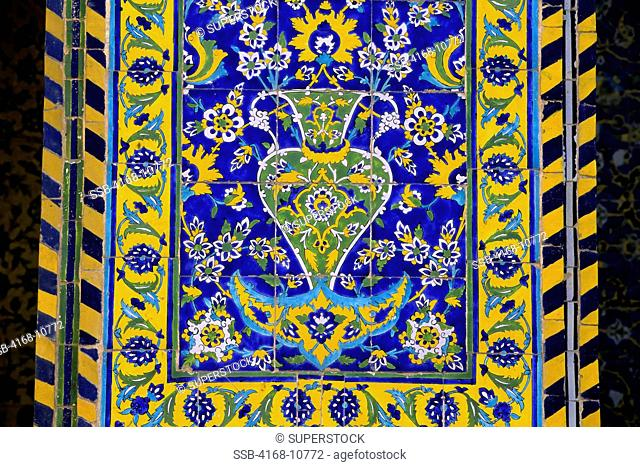 Iran, Esfahan, Eman Khomeni Square, Imam Masjed-E Emam Mosque, Tilework, Detail