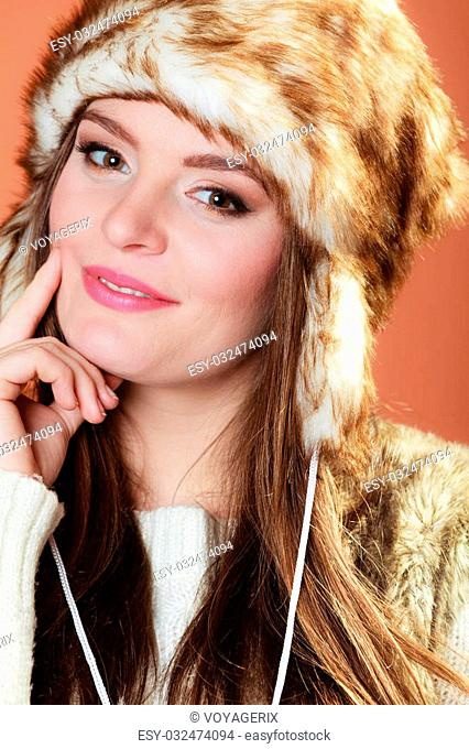 Woman In Fur Cap And Sweater Stock Photos And Images Age