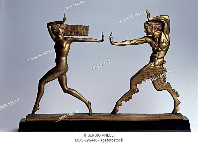 Faun and Nynph, by Le Foguays, 1920, 20th Century, Bronze. Italy, Lombardy, Gardone Riviera, Brescia, The Vittoriale. All