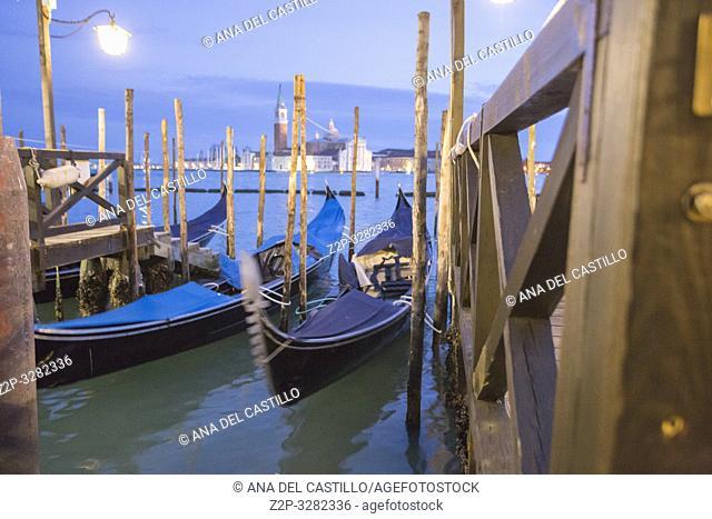 Venice Veneto Italy on January 19, 2019: San Giorgio Maggiore from the bridge of sights