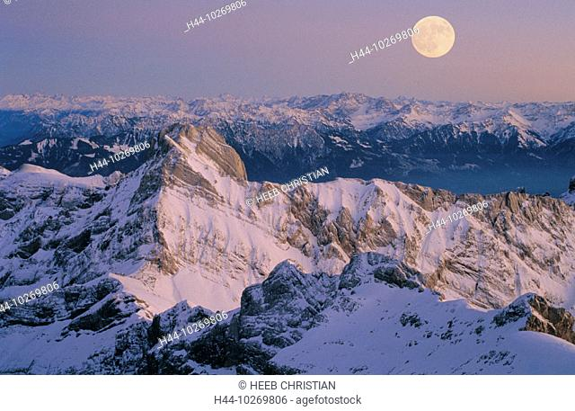 10269806, Altmann, Appenzell, mountains, view, from Säntis, at night, panorama, Switzerland, Europe, mood, full moon