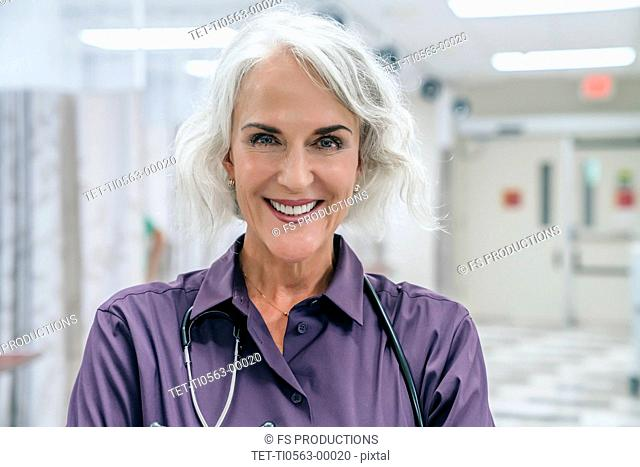 Portrait of smiling doctor with stethoscope