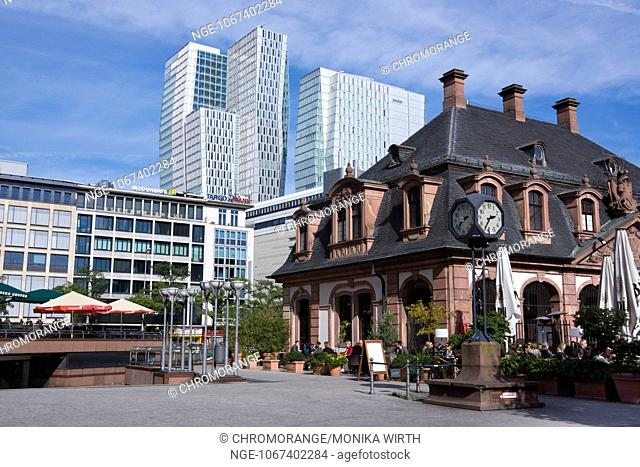 Hauptwache, former guard house, in the background Palais Quartier complex, Frankfurt am Main, Hesse, Germany, Europe