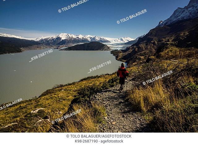 glaciar Grey, valle del lago Grey, trekking W, Parque nacional Torres del Paine,Sistema Nacional de Áreas Silvestres Protegidas del Estado de Chile
