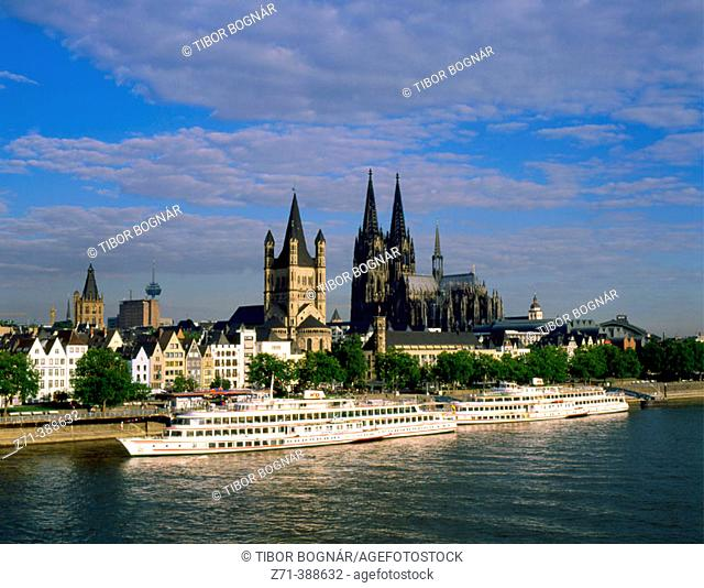 Skyline with the cathedral. Rhine River. Cologne. Germany