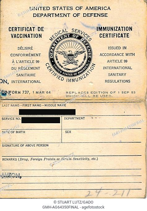 United States Department of Defense medical services immunization certificate, listing the name and identity of a soldier who has been vaccinated prior to being...