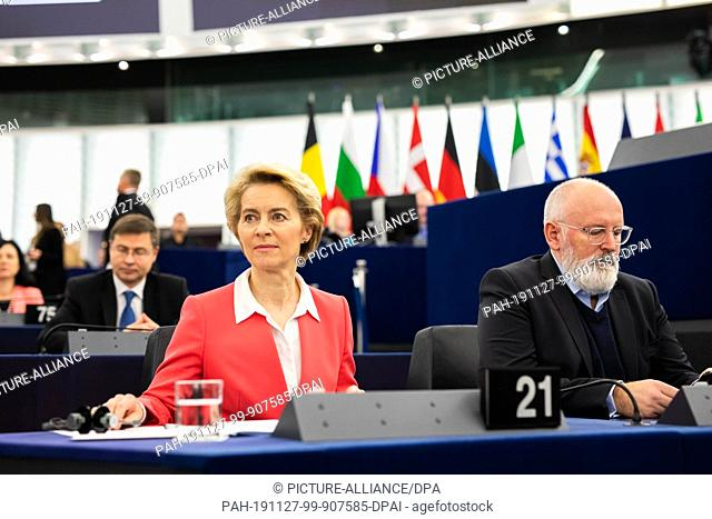 27 November 2019, France (France), Straßburg: The President-elect of the European Commission, Ursula von der Leyen (CDU), member of the EPP Group (l-r)