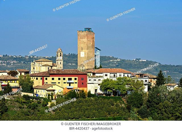 View of city with medieval tower, Barbaresco, Cuneo, Piedmont, Italy