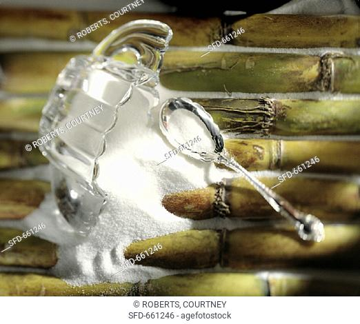 Spilled Sugar Bowl with Spoon on Top of Sugar Cane
