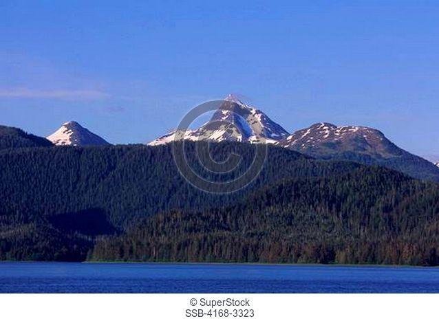 Usa, Alaska, Inside Passage, Near Sitka, View Of Baranof Island, Mt. Annahootz