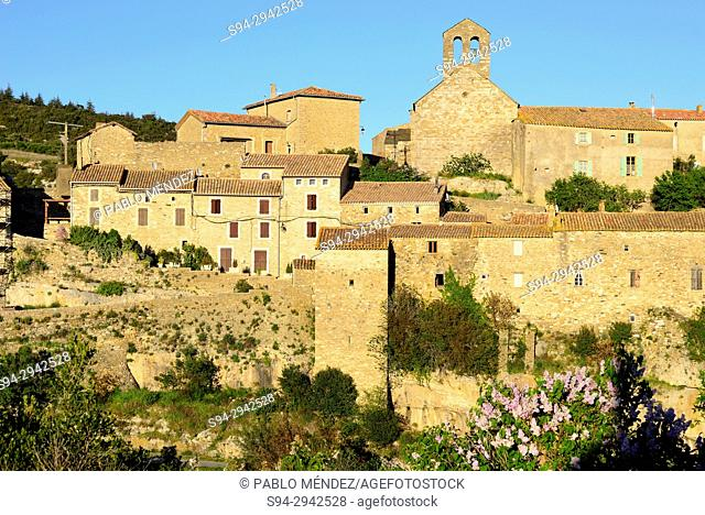 View of medieval town of Minerve, Languedoc-Roussillon, France