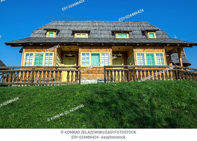 Wooden cottage house in traditional Drvengrad village, Serbia