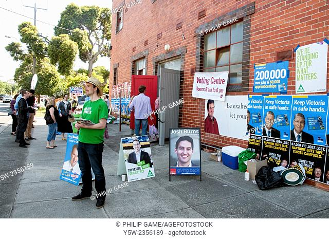 Scene outside a church hall polling booth during Victorian state elections, Australia