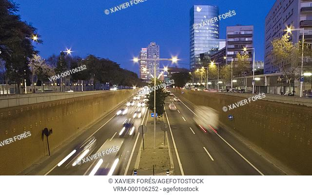 View of Ronda Litoral bypass and Hotel Arts, Barcelona, Spain