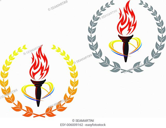 Flaming torches in laurel wreathes for peace concept design